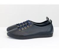 Невероятно легкие туфли-кеды из натуральной кожи темно-синего цвета на эластичной подошве, Т-17412-08