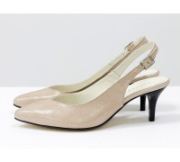 Туфли с открытой пяткой из натуральной итальянской кожи пудрового цвета с блеском, на невысокой шпильке, С-1909-02