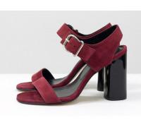 Распродажа! Универсальные женские босоножки на каблуке, из итальянской замши-велюр бордового цвета, на устойчивом невысоком каблуке. Новая коллекция от Gino Figini, С-1951-03 акция