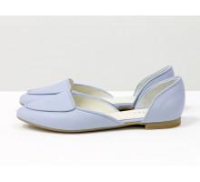 Облегченные кожаные туфли-лодочки небесно-голубого цвета, с удлиненным носиком на низком ходу,  Д-24-35
