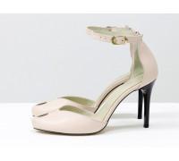 Дизайнерские туфли на шпильке с открытым носиком и на застежке вокруг щиколотки, из натуральной кожи пудрового цвета, Новая Коллекция от Gino Figini, Д-36-02