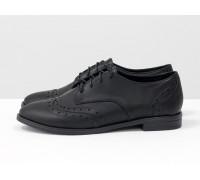 Туфли Оксфорды на шнуровке из натуральной  кожи черного цвета, на низком ходу, Новая коллекция от Джино Фиджини, Т-415-11