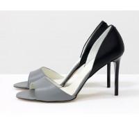 Летние туфли с открытым носиком из натуральной кожи серого и черного цвета на каблуке - шпилька, Летняя коллекция от Gino Figini, С-704-37