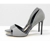 Летние туфли с открытым носиком из натуральной замши серого цвета на каблуке - шпилька, Летняя коллекция от Gino Figini, С-704-39