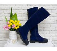 Ботфорты женские из натуральной замши синего цвета и вставками из гладкой кожи синего цвета, на противоскользящей расширенной подошве, Коллекция Осень-Зима, М-111д-08