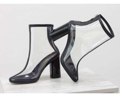 Дизайнерские ботинки из мягкого итальянского силикона и отделкой из натуральной черной кожи, на высоком глянцевом каблуке, Эксклюзивная Весенняя коллекция 2019 года от Gino Figini,  Б-1904-01