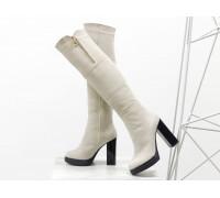 Ботфорты в шикарной замше светло-бежевого цвета, на высоком глянцевом каблуке, Весенняя коллекция от Джино Фиджини, М-16073-08