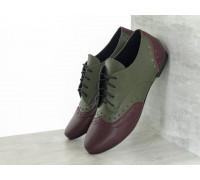 Легкие Туфли Оксфорды на шнуровке из натуральной кожи бордового и оливкового цвета, на низком ходу, Т-415-08