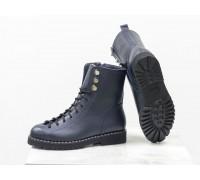 Модные ботинки Берцы на шнуровке в синей гладкой коже  на утолщенной брутальной подошве с металлическими вставками по канту, Коллекция 2018-2019, Б-1824-02