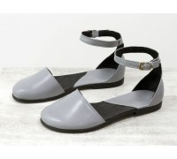 Легкие открытые туфли из натуральной кожи серого цвета на низком ходу, Летняя коллекция от Джино Фиджини, С-1929-03