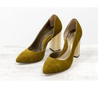 Эксклюзивные туфли из натуральной Итальянской замши горчичного цвета, на устойчивом каблуке золотого цвета, Лимитированная серия, Т-1701/1-13