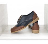 Кожаные туфли оксфорды синего и коричневого цвета, на шнуровке и на невысоком каблуке, Т-415-07