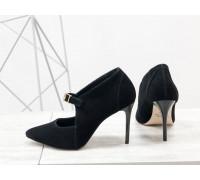 Туфли на каблуке шпильке из натуральной замши черного цвета с ремешком, коллекция Весна-Лето от Джино Фиджини, С-1706-02