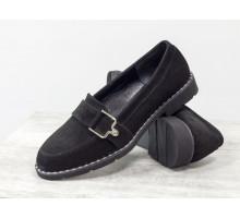 Замшевые туфли - лоферы черного цвета на удобной легкой подошве с металлическими вставками, Новая весенняя коллекция от Gino Figini, Т-1913-02