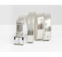 Наша новинка - кожаный ремень серебряного цвета  от производителя Джино Фиджини, Р-01-18
