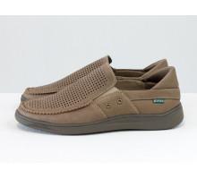 Летние мужские туфли мокасины из перфорированной матовой кожи цвета латте, на эластичной подошве в тон, Т-А11П-03