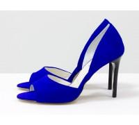 Легкие и удобные летние туфли на шпильке с открытым носиком из тончайшей натуральной замши цвета синий электрик, С-1926-01