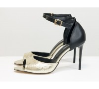 Яркие летние туфли с французским носочком из натуральной кожи золотого и черного цвета, на удобной застежке вокруг щиколотки,  С-1932-02