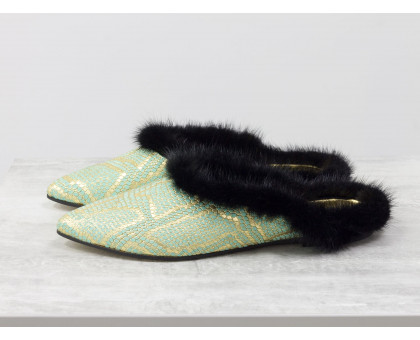 Меховые мюли из натуральной кожи бирюзового и золотого цвета с текстурой змея и отделкой в виде натурального меха норки черного цвета, Новая Коллекция от Джино Фиджини, Т-17428-13
