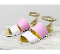 Нарядные летние сандалии из натуральной кожи белого, розового и золотого цвета, на низком ходу коллекция Весна-Лето от Джино Фиджини, С-605-08