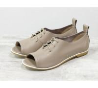 Невероятно легкие туфли с открытым носиком из натуральной кожи бежевого цвета на светлой эластичной подошве, Т-17415-08