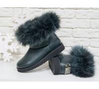 Женские ботиночки в стиле UGG из натуральной кожи флотар темно-зеленого цвета и натурального шикарного меха песца, коллекция Зима , Б-17113-06