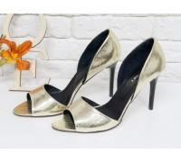 Золотые босоножки из натуральной кожи на каблуке-шпилька коллекция Весна-Лето 2018,  С-704