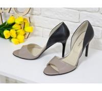 Босоножки из натуральной кожи бежевого и черного цвета на каблуке-шпилька коллекция лето-весна2017, С-704