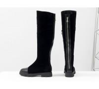 Высокие женские сапоги из натуральной замши и кожи черного цвета на противоскользящей расширенной подошве, Коллекция Осень-Зима, М-111д-11