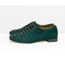 Новые дизайнерские туфли от Gino Figini на шнуровке по всей высоте, из замши зеленого цвета, на удобном невысоком каблуке, Т-1915-14