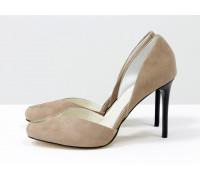 Дизайнерские туфли на шпильке с открытым носиком, из натуральной замши-велюр цвета капучино, Новая Коллекция от Gino Figini, С-1982-01