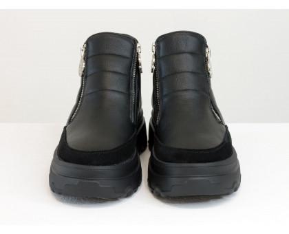Стеганые женские кожаные ботинки на молниях, выполнены из натуральной кожи и замши черного цвета на утолщенной подошве, Коллекция Осень-Зима от Джино Фиджини, Б-2164-01