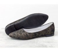 Балетки из натуральной кожи бронзового цвета с текстурой питон, на тонкой черной подошве, Т-413-28