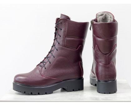 Ботинки из натуральной кожи флотар бордового цвета, на шнурке и на утолщенной тракторной подошве черного цвета, Коллекция Осень-Зима, Б-44-12