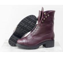 Дизайнерские ботинки берцы бордового цвета из натуральной гладкой кожи на невысоком каблуке и необычной шнуровке, Новая коллекция Осень Зима от Джино Фиджини,  Б-1826-02