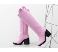 """Высокие Сапоги свободного одевания из натуральной кожи флотар розового цвета """"зефир"""", на невысоком и устойчивом каблуке,  Новая коллекция  от Джино Фиджини, М-17356-16"""