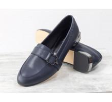 Кожаные туфли - лоферы синего цвета на удобной легкой подошве с металлическими вставками, Новая весенняя коллекция от Gino Figini, Т-1913-03