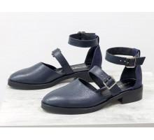 Красивые женские Туфли из натуральной гладкой кожи и текстуры зерно, синего цвета, на невысоком каблуке, Д-23-35