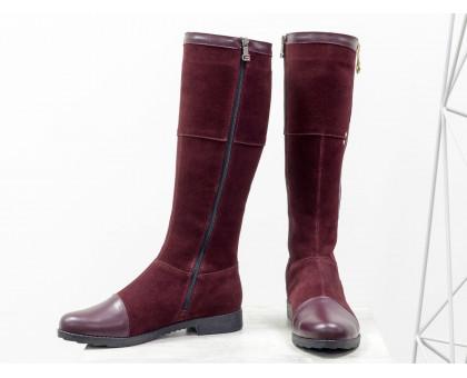 Сапоги женские бордового цвета из натуральной кожи и замши, Коллекция осень-зима от Джино Фиджини, М-12-07