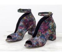 Шикарные туфли с открытым носиком из натуральной кожи в нежном цветочном принте, на устойчивом невысоком обтяжном каблуке, Лимитированная серия, TM Gino Figini, Т-1994-01