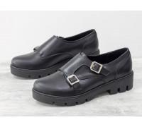 Школьные туфли из натуральной кожи черного цвета с металлическими пряжками на черной подошве, Т-1669-02