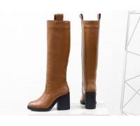 Высокие сапоги свободного одевания из натуральной кожи флотар рыжего, на невысоком и устойчивом каблуке,  Новая коллекция  от Джино Фиджини, М-17356-18