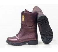 Высокие женские ботинки из натуральной кожи флотар бордового цвета с блеском, на высокой шнуровке и на утолщенной подошве, Б-44-13