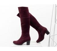 Высокие женские  Сапоги из натуральной замши цвета марсала, на устойчивом среднем каблуке, с серебряной молнией, Коллекция Осень-Зима, М-123-03