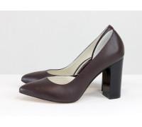 Красивые женские туфли из натуральной кожи бордового цвета, на устойчивом глянцевом каблуке, Лимитированная серия, Т-1701/1-09