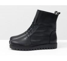 Облегченные женские ботинки на шнуровке черного цвета из натуральной кожи, на удобной утолщенной подошве,  Б-17331-09