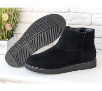 Женские ботиночки в стиле UGG из натуральной замши черного цвета, Коллекция Осень-Зима , Б-17113/1-01
