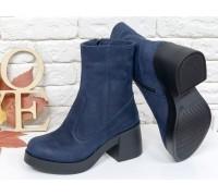 Женские ботинки из натуральной матовой кожи синего цвета на молнии на удобной подошве черного цвета, Коллекция Осень-Зима, Б-1953-01
