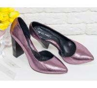 """Нарядные туфли из натуральной кожи лимитированной серии розового цвета цвета """"Disco"""", на устойчивом глянцевом каблуке, Лимитированная серия, Т-1701/1элит"""