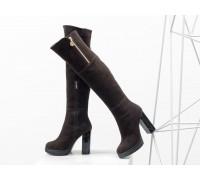 Ботфорты в шикарной замше шоколадного цвета, на высоком глянцевом каблуке, Весенняя коллекция от Джино Фиджини, М-16073-07